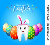 bunny tooth character with eggs ... | Shutterstock .eps vector #598625369