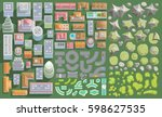 vector set. urban and landscape ... | Shutterstock .eps vector #598627535