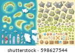 set of landscape elements.... | Shutterstock .eps vector #598627544