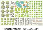 set of park elements.  top view ... | Shutterstock .eps vector #598628234
