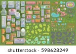 set of landscape elements. city.... | Shutterstock .eps vector #598628249