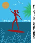 surfer girl on a surfboard sun... | Shutterstock . vector #598628795