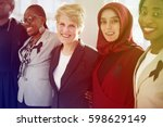 diverse women group with black... | Shutterstock . vector #598629149