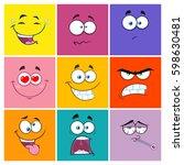 square cartoon emoticons... | Shutterstock .eps vector #598630481