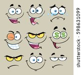 cartoon funny face with... | Shutterstock .eps vector #598631099