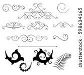 classic decorative swirl set of ... | Shutterstock .eps vector #598634165