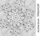 monochrome hand drawn doodle... | Shutterstock .eps vector #598634189