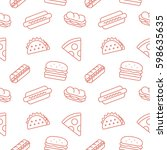 fastfood background seamless... | Shutterstock .eps vector #598635635