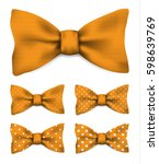 orange bow tie with white dots... | Shutterstock .eps vector #598639769