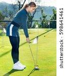 female golf player getting... | Shutterstock . vector #598641461