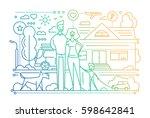 family life   vector modern... | Shutterstock .eps vector #598642841