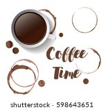 cut of coffee or tea with... | Shutterstock .eps vector #598643651