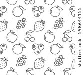 fruits seamless pattern vector... | Shutterstock .eps vector #598644155