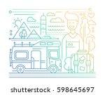 caravan tourism   vector simple ... | Shutterstock .eps vector #598645697