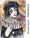 pierrot with a red rose. hand... | Shutterstock . vector #598648241