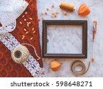 vintage mockup. sea shells ... | Shutterstock . vector #598648271