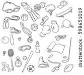 vector sport doodle set ... | Shutterstock .eps vector #598651019