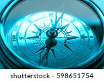 vintage metal compass in toning ... | Shutterstock . vector #598651754