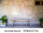 wooden bench with decorative... | Shutterstock . vector #598652741