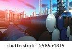 barrels of oil near petrol... | Shutterstock . vector #598654319