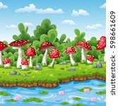 landscape of some fly mushrooms ... | Shutterstock .eps vector #598661609