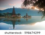 ulun danu temple bratan lake in ... | Shutterstock . vector #598674299