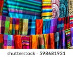 many multicolored textiles... | Shutterstock . vector #598681931
