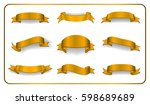 gold ribbons set. golden satin... | Shutterstock .eps vector #598689689