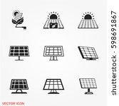 solar panel icons | Shutterstock .eps vector #598691867
