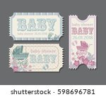 baby shower vintage invitation  ... | Shutterstock .eps vector #598696781