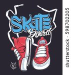 sneakers and skate board... | Shutterstock .eps vector #598702205
