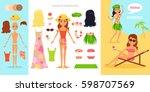 girl character creation set.... | Shutterstock .eps vector #598707569
