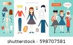 schoolgirl character... | Shutterstock .eps vector #598707581