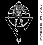 astronaut in space  tattoo.... | Shutterstock .eps vector #598709339