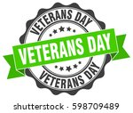 veterans day. stamp. sticker.... | Shutterstock .eps vector #598709489