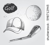 set of hand drawn golf items...   Shutterstock .eps vector #598712945