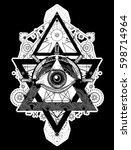 all seeing eye tattoo art... | Shutterstock .eps vector #598714964