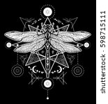 dragonfly tattoo. hand drawn... | Shutterstock .eps vector #598715111
