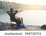 happy asian hipster man... | Shutterstock . vector #598720721