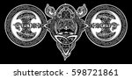 viking tattoo  celtic style.... | Shutterstock .eps vector #598721861