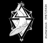 whale tattoo geometric style.... | Shutterstock .eps vector #598725434