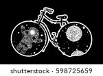 bicycle tattoo art. travel ... | Shutterstock .eps vector #598725659