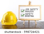 safety helmet and white board... | Shutterstock . vector #598726421