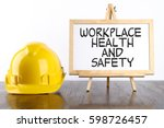 safety helmet and white board... | Shutterstock . vector #598726457