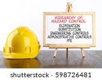 safety helmet and white board... | Shutterstock . vector #598726481