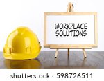 safety helmet and white board... | Shutterstock . vector #598726511