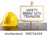 safety helmet and white board... | Shutterstock . vector #598726535