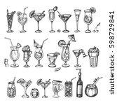 vector set of sketch coctails | Shutterstock .eps vector #598729841