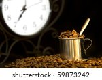 steel cup of coffee and clock... | Shutterstock . vector #59873242