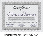 grey awesome certificate... | Shutterstock .eps vector #598737764